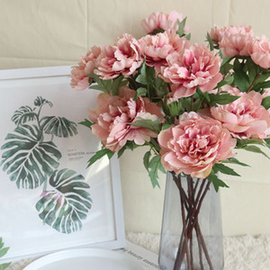 Wholesale Vintage Silk Flower European 1 Bouquet Artificial Flowers Fall Vivid Peony Fake Leaf Wedding Home Party Decoration