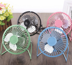 ventilador del usb de aluminio al por mayor-Cool Summer Aluminium leaf Quiet Mini Table Desk Personal Fan y Portable Metal Cooling Fan para Office Home High Compatibility