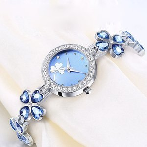 Wholesale Loadr Fashion Crystal Four Leaf Grass Style Women Watches Shining Steel Band Dress Ladies Watch Quartz Bracelet Watch Clock