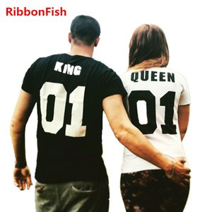 Fashion Women Couple Lover T-Shirts Casual Lady Girls Short Sleeve King and Queen Print Tee Top Blusas Gift for Wife Grilfriend