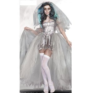 Wholesale Sexy devil Costume for women Halloween Bride Scarey Cosplay White Ghost prom Dress
