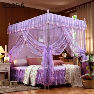 Wholesale Summer Mosquito Net Bed Canopy Netting Bed Net Rectangle Doors Open Elegant Beautiful Lace Princess Home Textile Corner