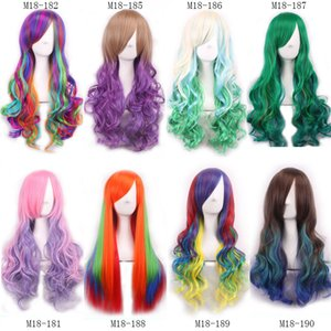 Wholesale Z F Ombre Human Hair Wigs Synthetic Wigs Curly straight Cosplay Fashion For Women Halloween Party Mixed Styles Charming