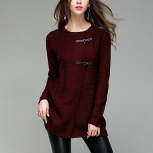 Wholesale Autumn Hot Sale Elegant Women Long Knitted Cardigan Sweaters Large Size Solid PU Button O neck Soft Open Stitch Sweaters Jumpers