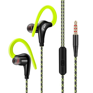 Wholesale New Sports Moving Coil Earphone HIFI Mega Bass with Microphone HeadphoneIn ear and Ear Hook Type