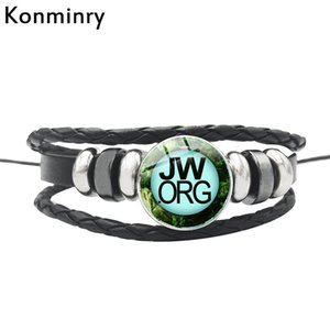 Wholesale Konminry Earth Planet Background JW Bracelet Leather Rope Chain Glass Dome Dolphin JW Org Design Women Men Christian Bangle