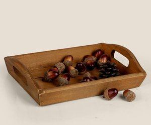 Wholesale Retro Rectangular Solid Wooden Tray Creative Household Fruit Tray Hotel Wooden Tray