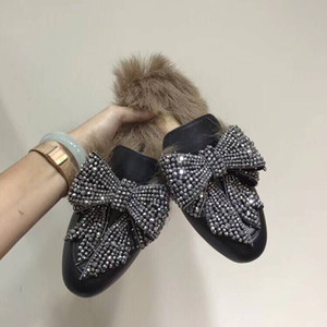 Wholesale Designer Shoes Winter Fur Slippers Women Driving Loafers Genuine Leather Fashion Moccasins Embroidery Bear Tiger Flower EU34