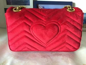 Wholesale nice red handbags resale online - Shipping Nice Free Handbags Bags BBag Shoulder Leather Real Women Crossbody Bag Fashion Velvet Famous Two Size Chain Quwdj