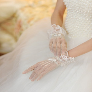 Women Black White Color Lace Mesh Glove Bride Wedding Dress Ceremonial Robe Or Dress Decorate Gloves 5 5zg ff