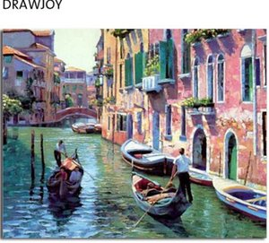 Wholesale Venice Landscape Frameless Pictures Painting By Numbers DIY Digital Canvas Handpainted Oil Painting Water City Home Decor G086