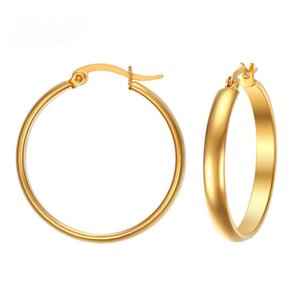 Wholesale 29MM Big Hoop Earrings for Women Gold Color Simple Elegant Stainless Steel Earring Trendy USA Style
