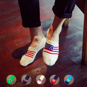 Silica Gel Non-slip Man Invisible Socks Full Cotton Fashion National Flag Pattern Shallow Marine Socks Male Socks 1pair=2pcsws80 on Sale