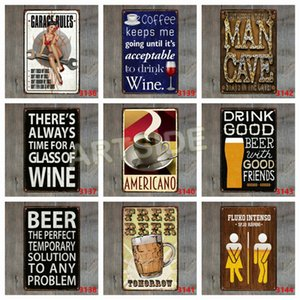 Wholesale MAN CAVE Rustic Tin Sign Garage Rules Vintage Metal Tin Signs Pub Bar Shop Wall Decor