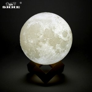 Rechargeable LED Night Light 3D Print Moon Lamp Luna Magic Touch Full Moonlight Portable 2 Colors Change Baby Gift Nightlight