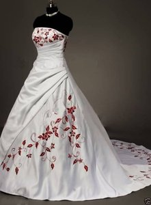 Wholesale Hot Sale Luxury White Red Embroidery Wedding Dresses Ball Gown With Appliques Ball Gown Wedding Party Dress Bridal Gowns QC1005