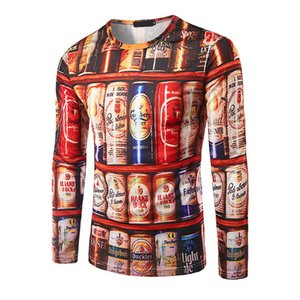 2018 Newest summer Fashion 3D Cans beer bottles printing T-shirt Men's long sleeve autumn Tops Tees man 3D round neck T shirt