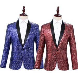 Wholesale Personality clothes men suits designs terno stage costumes for singers jacket men sequins blazer dance star style dress blue red