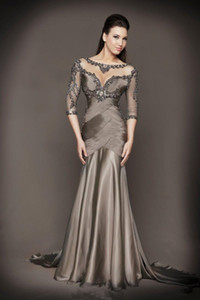 Wholesale Mother Of The Bride Dresses Mermaid Half Sleeves Gray See Through Beaded Backless Long Brides Mother Dresses For Weddings 2018