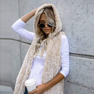 Women's Winter Warm Hooded Waistcoat Vest Outwear Casual Coat Faux Fur Zip Up Sherpa Jacket Chaleco Mujer