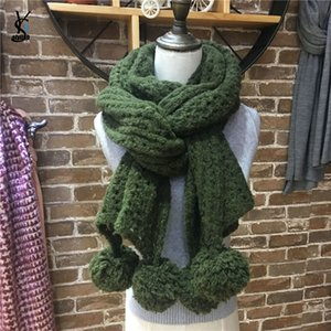 Wholesale Crochet Hook Handmade Scarf With Big Pompon Balls Japanese Lace Stitch Knit Wrap Shawl Lady Mohair Lofty Rib LattScarf YG906