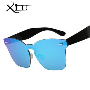 Wholesale XIU Big Frame One Union Lens Sunglasses Men Women Brand Design Sunglass Rivet Fashion Mirror Lens Goggle Oculos UV400