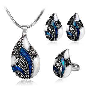 Wholesale vintage blue white crystal feather necklace luxury peacock earring women anniversary ear jewelry set