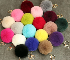 Keychain Fake rabbit Fur hair Ball Beads 8cm Round Metal Key Chain Charms Fur Ball Pendant Car Ornaments Phone accessories Key Ring hot