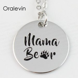 Wholesale MAMA BEAR Paw FootPrint Engraved Disc Pendant Charms Necklace Pet Lover Gift Jewelry LN116