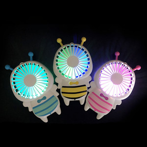 Wholesale DHL Handy USB charge Fan Mini Bee Handle Charging Electric Fans Thin Handheld Portable Luminous Night Light For Home Office Gifts Colors