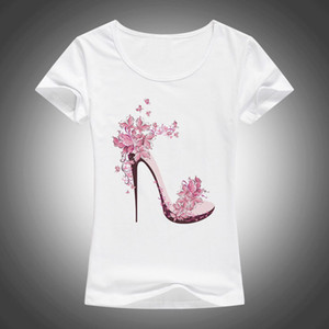 Wholesale new beautiful High heels printed summer cotton t shirt women tops tees short sleeve fashion Casual T shirt