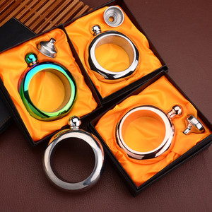 Wholesale New oz Water Bottle Booze Bangle Stainless Steel Wine Glasses Flask Bangles bracelet For women Men creative Jewelry with Gift box