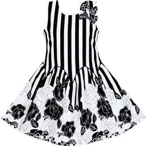 Wholesale Sunny Fashion Girls Dress Sleeveless Black White Stripes Flower Bow Tie Cotton Summer Princess Wedding Party Size