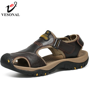 Wholesale Home Wear Brand Genuine Leather Summer Soft Male Sandals Shoes For Men Breathable Light Beach Casual Quality Walking Sandal