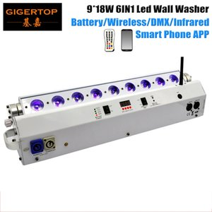 LED 9*18W Battery&Wireless Wall Washer RGBWA UV 6IN1 Leds High-capacity Battery Remote Mobile Phone Control Light CE Certificate