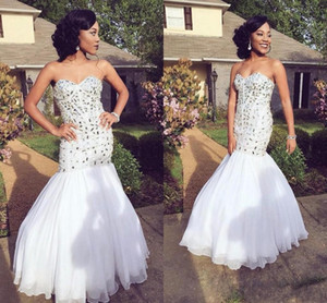 2019 White Formal Evening Dresses Party Wear Crystals Zipper Back Tulle Prom Dresses Mermaid Long Party Occasions Gowns robe de mariée on Sale