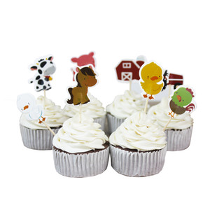 Wholesale 24pcs set Farm animals Cow tractor Cupcake Picks Cake Toppers Cartoon cake Inserts Card Christmas Party Gifts for Kids Birthday Decor C5008