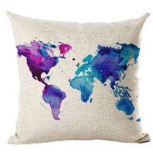 Wholesale New Design Map Of The World Print Pillow Cases Linen Pillowcase Decorative Pillows For Sofa Seat Cushion Cover Home Decor