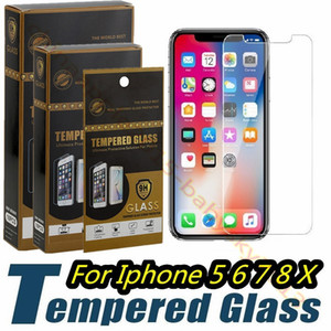 Wholesale Tempered Glass For iphone Plus X XR XS Max Screen Protector Glass Screen protector for samsung s6 s7 s8 s9 sony with retail box