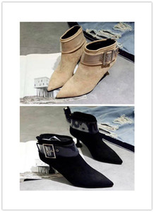 The latest luxury designer leather boots are rough and suede for women's fashion boots 35-39 for women's casual ankle boots on Sale