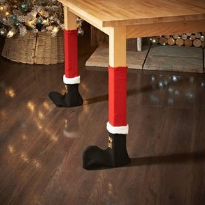Wholesale DIY Christmas Floor Protector Santa Elves Shoes Table Chair Legs Sock Sleeve Tables Leg Covers Xmas home Christmas decorations