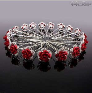 ingrosso jewerly capelli-20Pcs Forcine da sposa Crystal Red Rose strass Hair Pin Clips Donne Jewerly Bridal Bridesmaid Accessori per capelli