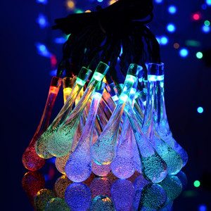 Wholesale led water dropping lights resale online - 21ft LED Crystal Ball Water Drop Solar Powered Globe Fairy Lights Working Effect for Outdoor Garden Christmas Decoration Holiday Lights