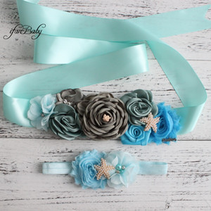 Wholesale Blue Grey sash belt Beach Flower Sash for Women Maternity Bridal wedding belt with rhinestone flower headband Female