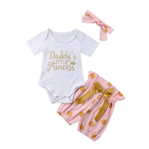 Newborn 3PCS Baby Girls Cotton Bodysuit Letter White Top Bow Dot Pink Shorts Outfits Kids Girls Set Clothes