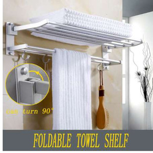 Xueqin 56x7.2x3.5cm Bathroom Towel Racks Double Towel Rack Wall Mounted Space Aluminum Towel Shelf With Hooks Bath Rails Bars