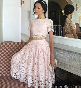 Wholesale Two Pieces Pink Short Prom Dresses 2018 Jewel Short Sleeve Knee Length Full Lace Homecoming Evening Party Gowns Vestidos De Fiesta