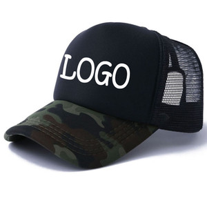 Wholesale trucker cap printing resale online - New Adult Sun Hats Men Camo Caps Free Vinyl printing LOGO camouflage Curved Trucker Cap Women Summer Snapback hats Custom Your inquiry logo