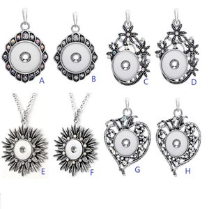 Wholesale Fashion Silver Metal Snap Button Pendant Necklace Rhinestone Flower Retro Pendant DIY mm Ginger Snap Buttons Necklace Jewelry
