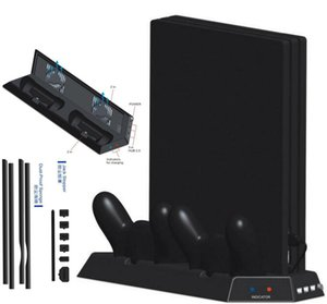 Wholesale PS4 Pro Vertical Stand Cooling Fan Dual Controller Charging Station HUB Dust proof kit Mesh Jack Stopper for PS4 Pro Game Parts